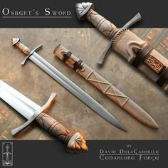 Forged by David DelaGardelle of Cedarlore Forge, Osbert's Sword is a hybrid Oakeshott type XIV sword with a Germanic lobed pommel. Hand forged and ground out of high carbon 1075 steel, with fitting… Viking Armor, Viking Sword, Arm Armor, Swords And Daggers, Knives And Swords, Vikings, Viking Life, Scandinavian Folk Art, Fantasy Weapons