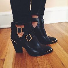 sexy black ankle boots with the ankle accessory and can be dressed up and down. A MUST HAVE for my closet Bootie Boots, Shoe Boots, Shoes Heels, Ankle Booties, Cute Shoes, Me Too Shoes, Over Boots, Shoe Closet, Black Ankle Boots