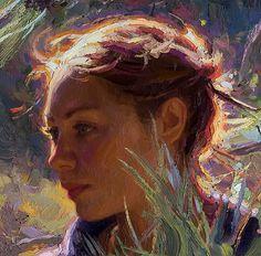 """""""Una In Pines"""" - Scott Burdick (b. 1967), oil on canvas, 2007 - DD"""