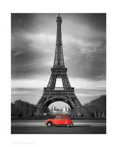 Retro Red and the Eiffel Tower Fine Art Print Poster