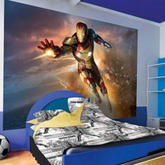 Cool Iron Man Wallpaper For Teen Boy's Bedroom Decor