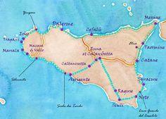 carte aquarelle et idée d'itinéraire pour faire le tour de la sicile