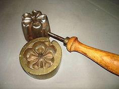 Antique Cast Iron & Brass Millinery FLOWER FABRIC MOLD PRESS NR