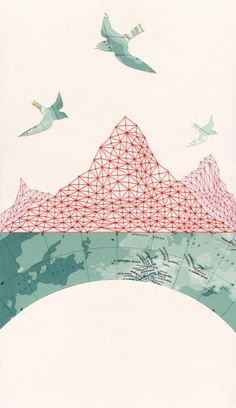 ARCHIVAL PRINT Passage / map art collage cartography travel birds mountains antarctic pattern embroidery geometry red thread USD) by selflesh Art And Illustration, Illustrations, Project Life Karten, Art Du Collage, Art Collages, Art Carte, Photocollage, Inspiration Art, Art Graphique