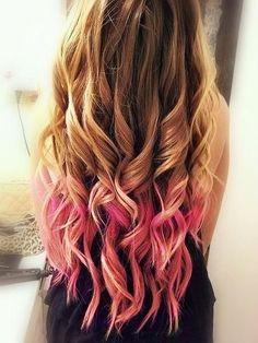 pink dip dye  curls. So pretty!