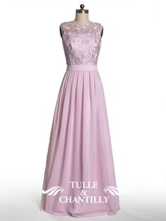 Dramatic Vintage Lace Bridesmaid Dress with Flowing Chiffon Skirt - Tulleandchantilly.com