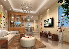 Living room lighting and partition idea 3D