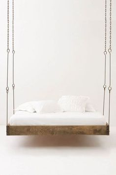 ONE DAY, I will have a hanging bed somewhere in my home. Barnwood Hanging Bed from Anthropologie. Home Design Decor, House Design, Interior Design, Home Decor, Design Ideas, Design Hotel, Interior Ideas, Suspended Bed, Hanging Beds