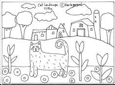 RUG HOOKING PAPER PATTERN Cat Landscape FOLK ART ABSTRACT PRIMITIVE Karla G in Crafts | eBay