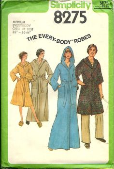 Simplicity 8275 The Every-Body Hooded Robes, Men's And Misses Robe Pattern, Sizes XS, L, XL & XXl, UNCUT by DawnsDesignBoutique on Etsy