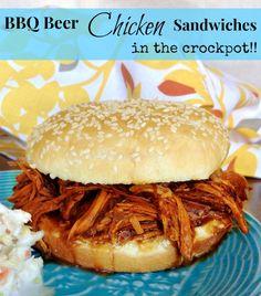 CrockPot BBQ Beer Chicken Sandwiches recipe