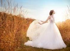Ivory Tulle Ball bridal gown, sheer sequin embroidered bodice, V-neckline, natural waist, open back, sweep train.