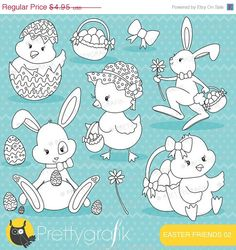 80% OFF SALE easter friends, easter bunny stamps commercial use, vector graphics, digital clip art, digital images - DS643