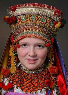 Woman with Headdress, Russia Costumes Around The World, Tribal People, Russian Folk, Ethnic Dress, Cultural, Russian Fashion, Folk Costume, Historical Costume, Ethnic Fashion