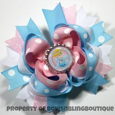 Cinderella Hair Bow Blue and Pink Hairbow Disney Princess Boutique Hairbows Cinderella Bow Funky hair bow Disney bows