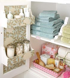 Over 1765 people liked this! Like the racks on the inside of the door Bathroom Storage Ideas for Small Spaces - Corbels as Shelving Dividers - Click Pic for 42 DIY Bathroom Organization Ideas Diy Bathroom, Small Bathroom Storage, Bathroom Organization, Organization Hacks, Organized Bathroom, Bathroom Cabinets, Bathroom Ideas, Bathroom Closet, Organizing Ideas