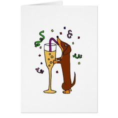 Funny Dachshund Dog Party Cartoon Card - tap to personalize and get yours