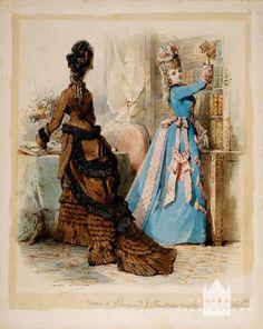 "Preliminary sketch (watercolor) for ""Le Moniteur de la Mode"": 1875, by Jules David (1808-1892)"