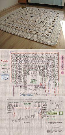 Шикарный коврик крючком схема + мк   Домоводство для всей семьи
