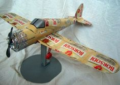 Model airplanes made from beer cans.