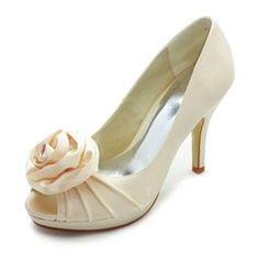 Satin Stiletto Heel Peep Toe Platform Pumps Wedding Shoes With Satin Flower