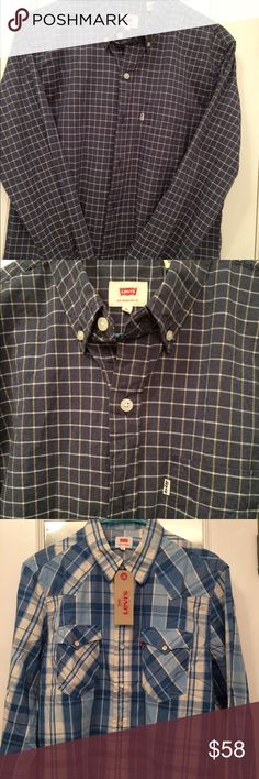 BUNDLE men's Levi's button down Shirts size M THE 2 shirts that work for every situation and occasion. The darker button down is ideal for dressier functions, the plaid for more informal ones.  The holidays are coming fast!  Be ready (or make sure your guy is) for work, travel, play, and parties.  OR keep one and gift one; who'll know the difference. Levi's Shirts Casual Button Down Shirts