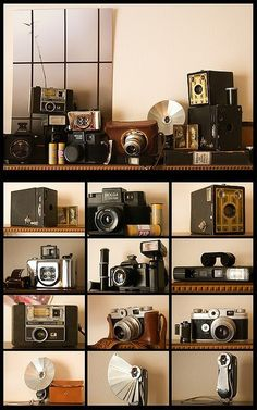 Big shelf to show case all the diffrent types of cameras