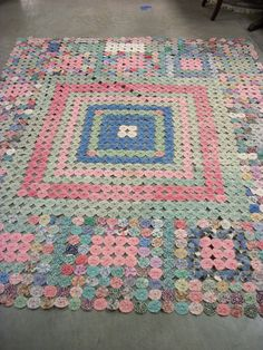 "Vintage Multicolor Hand Stitched Cotton Yo-Yo Quilt 70"" by 76"" - Pinks, Greens & Blues"
