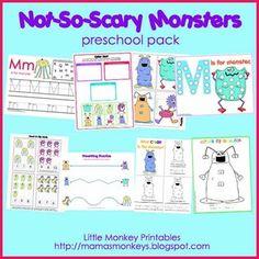 Not-So-Scary Monsters Preschool Pack - Little Monkey Printables - TeachersPayTeachers.com free