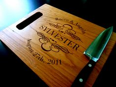 Wood Cutting Board - Personalized - Engraved - Cherry Wood - x Custom Cutting Boards, Engraved Cutting Board, Personalized Cutting Board, Bamboo Cutting Board, Gifts For Wine Lovers, Custom Engraving, Couple Gifts, Types Of Wood