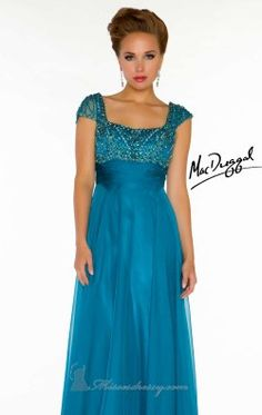 Square Neck Chiffon Gown by Mac Duggal Couture 78842D