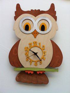 Owl wall clock Pinned by www.myowlbarn.com