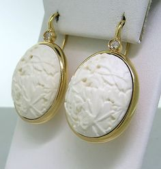 Pomellato Victoria 18k Gold Carved White Coral Rose Cut Diamond Earrings