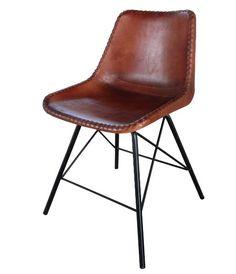 tina stuhl leder metall braun vintage 003 stuhl. Black Bedroom Furniture Sets. Home Design Ideas