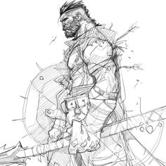 Character sketches 730638739531664553 - ArtStation – Inktober & Procreate Sketches , Hicham Habchi Source by SelekdeVulcain Character Sketches, Character Design References, Character Drawing, Art Sketches, Art Drawings, Fantasy Character Design, Character Design Inspiration, Viking Drawings, Warrior Drawing