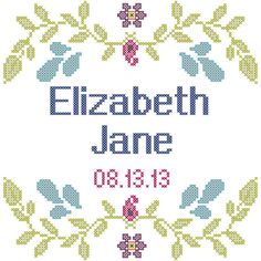 Cross Stitch Pattern Girl Birth Record by oneofakindbabydesign