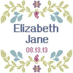 Cross Stitch Pattern Girl Birth Record by oneofakindbabydesign