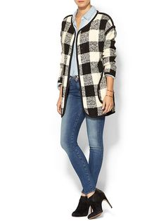 JOA Womens Check Sweater Coat With Black Binding Black/white buffalo check by: JOA @Piperlime