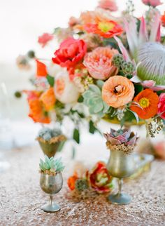 vibrant coral, peach and orange flowers