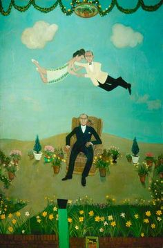 The Second Marriage/Stanley Joscelyn's Dream by Anthony Green Anthony Green, Dream Art, Art Uk, Naive Art, Mixed Media Art, Illusions, Contemporary Art, Two By Two, Folk