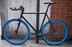 Black & Blue fixed gear bike