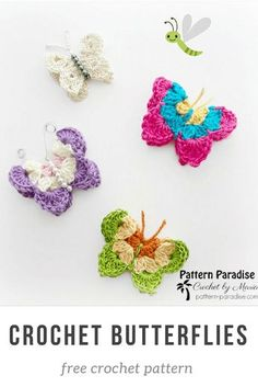 Free Crochet Pattern: Butterflies | Pattern Paradise - Make these adorable butterflies and add them to a summer dress, headbands, pillows, bags, and so much more. #crochet #patternparadisecrochet #butterflies #butterfly #freepattern