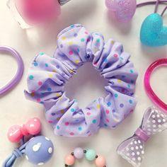 Pastel Hair Scrunchie Lavender Lilac Dots Hair Bun Ponytail Holder Hair Tie Retro 80s 90s Sweet Polka Dot Scrunchie Fairy Kei Hair Accessory by blacktulipshop on Etsy