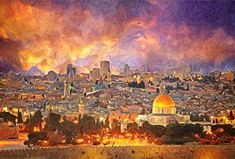 Zapista Jerusalem Painting Israel Skyline Art Print Historical Religious Center Poster Ancient Old City Home Wall Decor Unframed x Skyline Painting, Skyline Art, Art Prints Quotes, Fine Art Prints, Palestine Art, Thing 1, Jewish Art, Ancient Symbols, Time Art