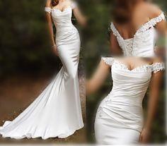Fashion 2014 Modest Cheap Simple Long Beach Mermaid Wedding Dresses Satin Empire