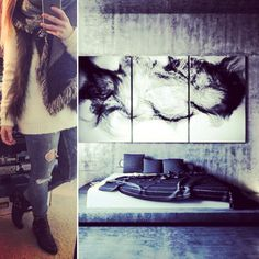 Today's #outfit - #scarfs from #Maya #Copenhagen, sweater from #forever21, ripped jeans from #ginatricot, and shoes from #Scorett. Today's #interior - abstract #bedroom #design, with a blue and cream tone of concrete floor and wall. #Stage as a bed frame together with a 3 piece #artwork. I've been #sightseeing, #touring, Christmas #concert, #street #acrobatic, #street #artshow, t-shirt #printing, and the list goes on  #vacation #holiday