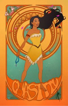 Art Nouveau Disney Princesses - beautiful rendition of Pocahontas! I don't care if the Disney version is miles away from the real story. In this case, I definitely prefer Disney's version!