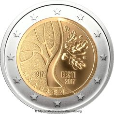 Estonia 2017 Anniversary of Independence 2 Euro bimetallic coin. Image courtesy Bank of Estonia Copper Nickel, Bronze, Euro Währung, Piece Euro, Timbre Collection, Euro Coins, Coin Design, Coin Card, Coin Values