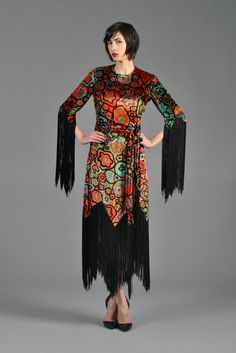 Graphic 1960s Scalloped Velvet Dress with Fringe | BUSTOWN MODERN