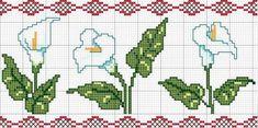 Calla lily x-stitch pattern 123 Cross Stitch, Beaded Cross Stitch, Cross Stitch Borders, Cross Stitch Flowers, Counted Cross Stitch Patterns, Cross Stitch Charts, Cross Stitching, Cross Stitch Embroidery, Embroidery Patterns